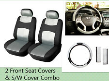 "Car Seat Covers 2 Front +15"" SW PU Leather Truck SUV Van (All Seats) 853 Bk/SIL"