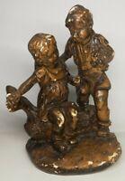 Ancienne statuette en plâtre deux enfants assis sur une branche, Vintage, H 19cm