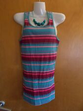 M&S LtdCol 100%Cotton Striped Racerback Vest Top & Beads 14yr Blue Mix BNWT