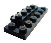Lego 10 Stück Konverter Platte in schwarz 2x6x2/3 seitlich 4 Noppen 87609 Neu