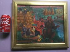 Russian Russia  Primitive - Folk - Naive  painting a man and a dancing bear !!