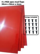 RED Rally Motorsport Mud Flaps 50cm x 30cm 4mm MSA spec x4 - With Fittings