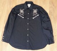 H Bar C vintage pearl western made in USA black mens shirt size 16,5 - 35 (L-XL)