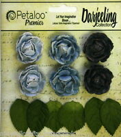 BLUE 6 Mini GARDEN ROSETTE Paper Flowers 25-30mm & 6 Leaves Darjeeling Petaloo