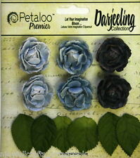 BLUE 6 Mini GARDEN ROSETTE Paper Flowers 25-30mm & 6 Leaves Darjeeling Petaloo