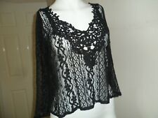 Hollister ladies black lace effect cropped top size Small