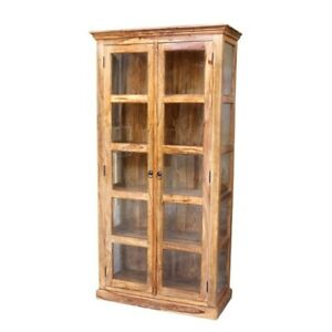 Classic Evergreen Sheesham Wood Rosewood Indian Cabinet With Glass Doors Natural