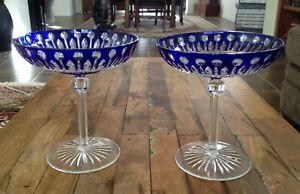 "2 Lot AJKA King Louis Cobalt Blue Compote Set Cut to Clear 6 3/8"" Mint"