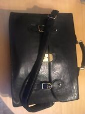 BLACK HEAVY LEATHER SCHOOLBAG BREIFCASE