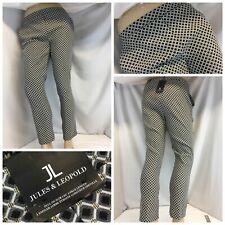 Jules & Leopold Crop Pants M Black Check Poly Rayon Nylon Lycra NWT YGI G9-278
