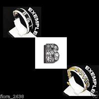 Lettre B, initiale argenté et strass transparent pour bracelet, bijoux fantaisie