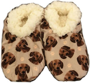 Comfies Womens Red Dachshund Dog Slippers - Sherpa Lined Animal Print Booties