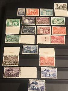 Andorre 1948/51 Série Paysages N° 119/137 Neufs **/* Cote 103 €