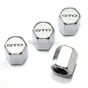 (4) Pontiac GTO Silver Logo Chrome ABS Tire/Wheel Car Air Stem Valve CAPS Covers