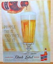 Vintage 1960 magazine ad for Carling Black Label - Big schooner of beer, Try It!