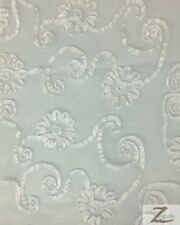 "RIBBON CRYSTAL ORGANZA FABRIC - White - 50""/52"" WIDTH SOLD BY THE YARD DRESS"