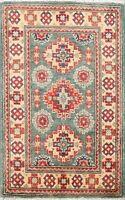 Vegetable Dye Geometric Super Kazak Handmade Area Rug Oriental Wool Carpet 2x3
