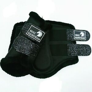 BLACK BLINGY GLITTER BRUSHING BOOTS TENDON DRESSAGE PROTECTION FLEECE LINED S-XL