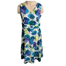 Cotton Dress Size 16w White with Purple Teal Floral Midi Daytime Cocktail Dress