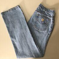 Carhartt Mens Jeans 30Wx33I Blue Light Wash Straight Leg Mid Rise Distressed