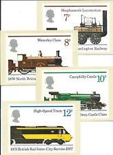 GB - PHQ CARDS -1975 - RAILWAYS  - BACK - FDI/SHS - COMP  SET USED pmk Caern'fon