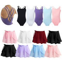 Girls Ballet Dance Chiffon Dress Kids Gymnastics Leotards Wrap Skirt Dancewear