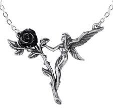 Faerie Glade Black Rose Garden Fairy Pewter Pendant Necklace Alchemy Gothic P844