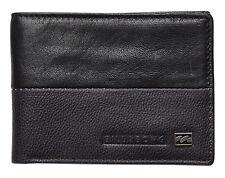"""Billabong """"exchange"""" Mens Black Leather Bi-fold Wallet BN"""