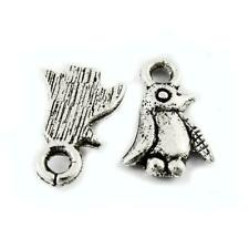 5 x Tibetan Silver /& Enamel BLACK WHITE /& YELLOW PENGUIN Charm