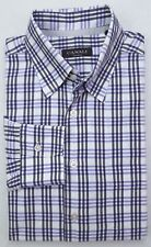 Canali Shirt Large Checked Multicolor Black Purple White Mens Cotton Italy Sz L