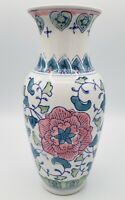 "Vintage Chinese Porcelain 10"" Vase Handpainted with Blue, Green, & Pink Flowers"