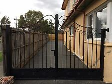 New wrought iron double swinging driveway gates adjustable 3.9to 4.1m