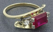Womens Ring 9ct Yellow & White Gold RUBY & DIAMOND Engagement VINTAGE