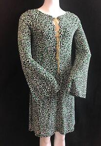 BNWT MICHAEL KORS BRGHTPM/BLK Lng Sleeve Gold Chain Neck Tie Dress UKXL RRP £250