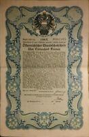 Österreichischer Staatsschatzschein 1000 Kronen top Rarität 1921 m. Zinsscheinen
