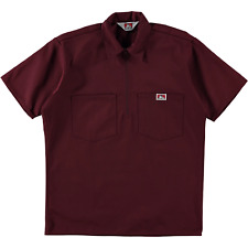 Ben Davis Short Sleeve Half Zip Work Shirt Solid Burgundy