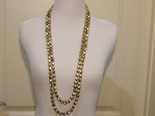 """Necklace 37"""" & Matching Earrings Set Signed Chico's Double Strand Gold Nugget"""