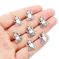 New 10Pcs Charms Frog Tibetan Silver Pendant Beads Bracelet Jewelry Findings