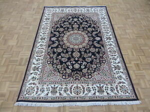 5'7 x 8'2 Hand Knotted Navy Blue Persian Fine Nain With Silk Oriental Rug G6586