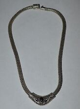 HEAVY DESIGNER STERLING SILVER AND ONYX SNAKE NECKLACE