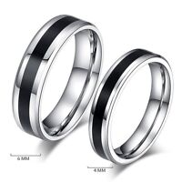 Fashion Men Women Jewelry Black Titanium Band Stainless Steel Ring Size 6-12