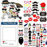 Photo Booth Fun Selfie Props Birthday Moustache Theme Party Decor Supplies