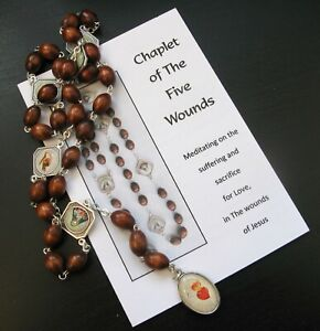 Chaplet of The Five Wounds of Jesus with leaflet Catholic