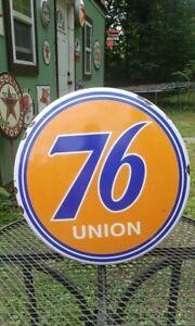 UNION 76 dome porcelain sign gas pump plate vintage style garage gasoline globe