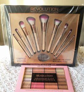 9 BRUSHES+BLUSH&HIGHLIGHT Shade Profesional Revolution Make up Set Gift + SPONGE