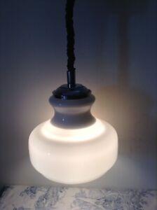 Vintage Brevettato Retro Rise & Fall White Glass Pendant Ceiling Light (3455)