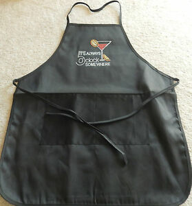 Woman's Apron-black-5:00 Somewhere-multi color rhinestones-pocket-cocktail glass