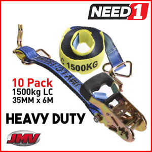 10 Pack  Ratchet Strap Tie Down Assembly   35mm x 6M   LC 1500kg   Hook & Keeper