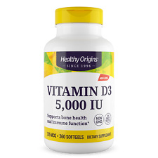 Healthy Origins - Vitamin D3 5,000iu x 360 Softgels, D-3 5000iu