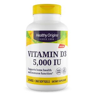 Healthy Origins - Vitamin D3 5,000iu x 360 Softgels, D-3 5000iu